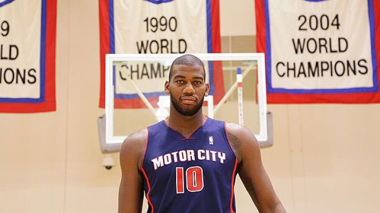 Greg Monroe models the new Motor City jersey. (Photo via @detroitpistons)