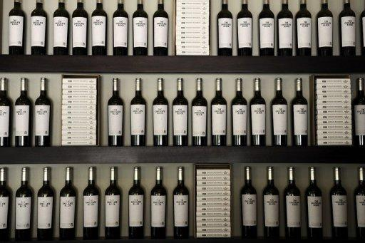 Bottles of wine are seen on display in a shop in a vineyard in Franschoek. South Africa wasn't allowed to sell its wine abroad during the international sanctions of the apartheid era, but now foreign sales make up 55 percent of production, which has tripled over the last decade