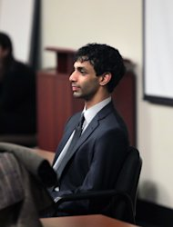 Dharun Ravi enters the courtroom during jury deliberations at the Middlesex County Courthouse, Thursday, March 15, 2012 in New Brunswick, N.J.. Ravi, a former Rutgers University student, faces 15 criminal charges, including invasion of privacy and bias intimidation, a hate crime. His freshman-year roommate, Tyler Clementi, jumped to his death from the George Washington Bridge in September 2010, just days after Clementi's intimate encounter with another man. (AP Photo/John O'Boyle, Pool)