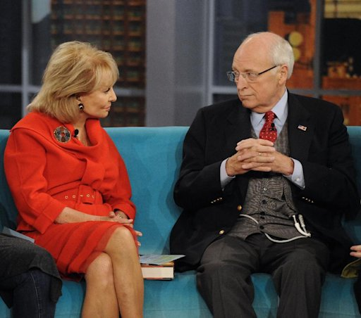 "In this image released by ABC, former Vice President Dick Cheney, right, speaks with Barbara Walters  on the daytime talk show ""The View,"" Tuesday, Sept. 13, 2011, in New York. Cheney appeared to promote his book, ""In My Time."" (AP Photo/ABC, Donna Svennevik)"