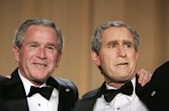 File - In this April 29, 2006 file photo, President George W. Bush, left, and Steve Bridges, a comedian and Bush impersonator pose during the White House Correspondents' Association's 92nd annual awards dinner in Washington. Comic impressionist Bridges, best known for impersonating former President George W. Bush, has died at home in Los Angeles. Bridges, 48, was found unresponsive by a housekeeper on Saturday. The coroner's office says it is being investigated as an apparently natural death but an autopsy will be conducted. (AP Photo/Haraz N. Ghanbari, File)