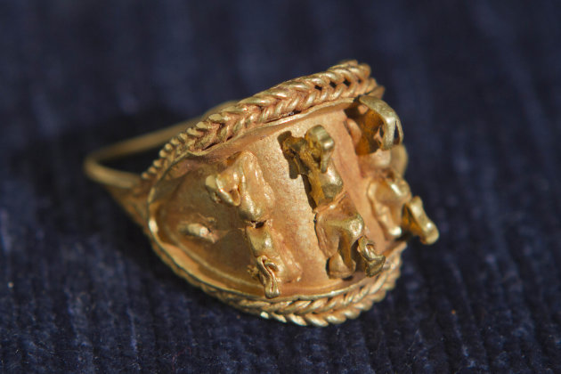 In this photo taken Wednesday, May 23, 2012 an ancient jewel discovered by Israeli archaeologists is displayed at the Tel Aviv University, Israel. Israeli archaeologists have unearthed a stash of rare