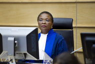 Judge Sanji Mmasenono Monageng is seen in the courtroom in The Hague, Netherlands, Monday June 27, 2011. The International Criminal Court (ICC) has issued arrest warrants for Libyan leader Moammar Gadhafi, his son and his intelligence chief for crimes against humanity in the early days of their struggle to cling to power. (AP Photo/Robert Vos, Pool)