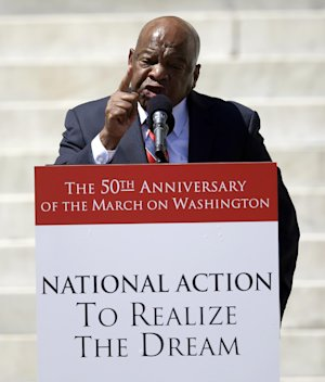 Rep. John Lewis, D-Ga., speaks at a rally to commemorate…