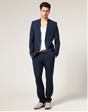 Navy Blazer and Low Cut White T-Shirt