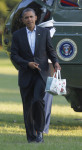 President Barack Obama points to his bags of apples as he walks across the South Lawn of the White House during their arrival, Saturday, Aug. 18, 2012 in Washington. Obama purchased the items in a ...