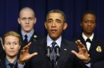 U.S. President Barack Obama speaks against automatic budget cuts at the White House in Washington