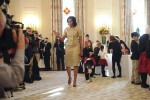 First lady Michelle Obama and First Dog Bo, welcome military families, including Gold Star and Blue Star parents, spouses and children for the first viewing of the 2012 holiday decorations at the ...