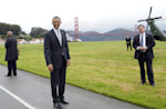 President Barack Obama stands with a view of the Golden Gate bridge before getting on Marine One in San Francisco, Thursday, April 4, 2013. Obama will be attending Democratic fundraisers while in ...