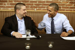 """President Barack Obama meets with Mario Orosa, left, of North Canton, Ohio, and other winners of the """"Dinner With Barack"""" campaign fundraising contest at Smith Commons Dining Room and Public House ..."""