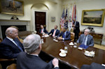 President Barack Obama hosts a meeting of the bipartisan, bicameral leadership of Congress to discuss the deficit and economy, Friday, Nov. 16, 2012, in the Roosevelt Room of the White House in ...