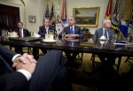 President Barack Obama pauses as he hosts a meeting of the bipartisan, bicameral leadership of Congress to discuss the deficit and economy, Friday, Nov. 16, 2012, in the Roosevelt Room of the White ...