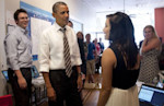 US President Barack Obama greets supporters at the Obama for America campaign field office in Charlottesville