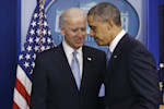 President Barack Obama and Vice President Joe Biden walk away from the podium after Obama made a statement regarding the passage of the fiscal cliff bill in the Brady Press Briefing Room at the ...