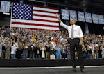 FILE - In this April 24, 2012, file photo President Barack Obama acknowledges the crowd after speaking at the University of North Carolina in Chapel Hill, N.C. Demographic changes and recent ...