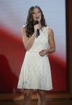 Ayla Brown sings the National Anthem at the start of the third session of Republican National Convention in Tampa