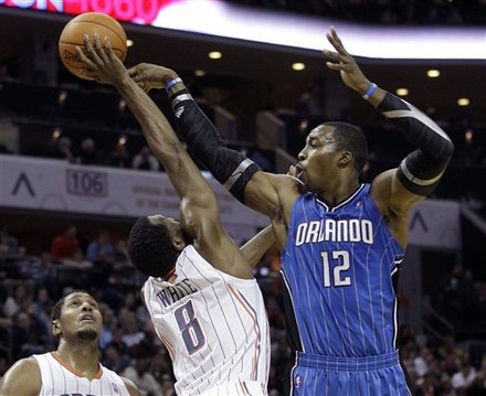 Orlando Magic's Dwight Howard (12) Passes