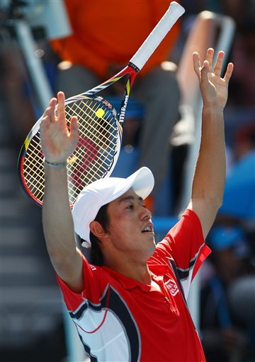 Japan's Kei Nishikori Raises