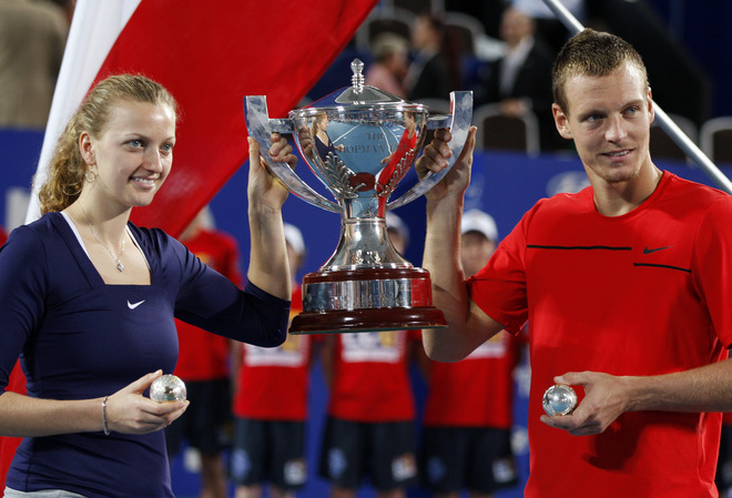 Tomas Berdych (R) And Petra Kvitova (L) Of The Czech Republic Celebrate Winning The Hopman Cup By Defeating Richard