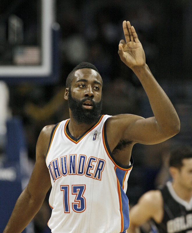 James Harden #13 Of The Oklahoma City Thunder Celebrates