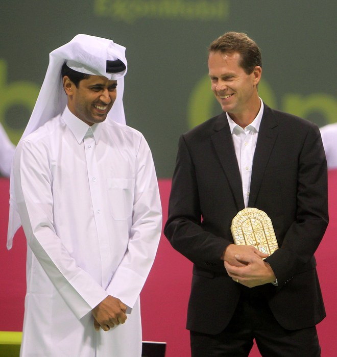 President Of The Qatar Tennis Federation Nasser Al-Khelaifi (L) Talks