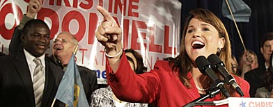 Republican Senate candidate Christine O'Donnell addresses supporters after winning the Republican nomination for Senate in Delaware, Tuesday, Sept. 14, 2010, in Dover, Del. (AP Photo/Rob Carr)