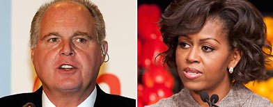 (L-R) Rush Limbaugh (Getty Images), First Lady Michelle Obama (AP)