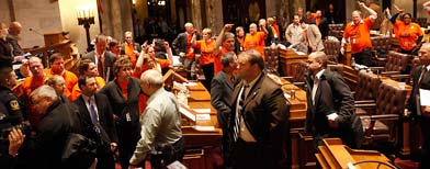 Wisconsin Assembly Republicans after voting to pass budget repair bill (AP)