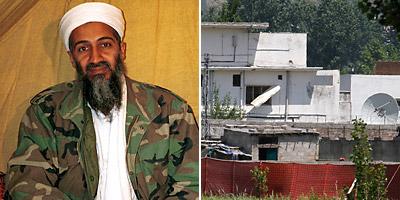 (L-R) Osama bin Laden, Compound in Pakistan (AP)