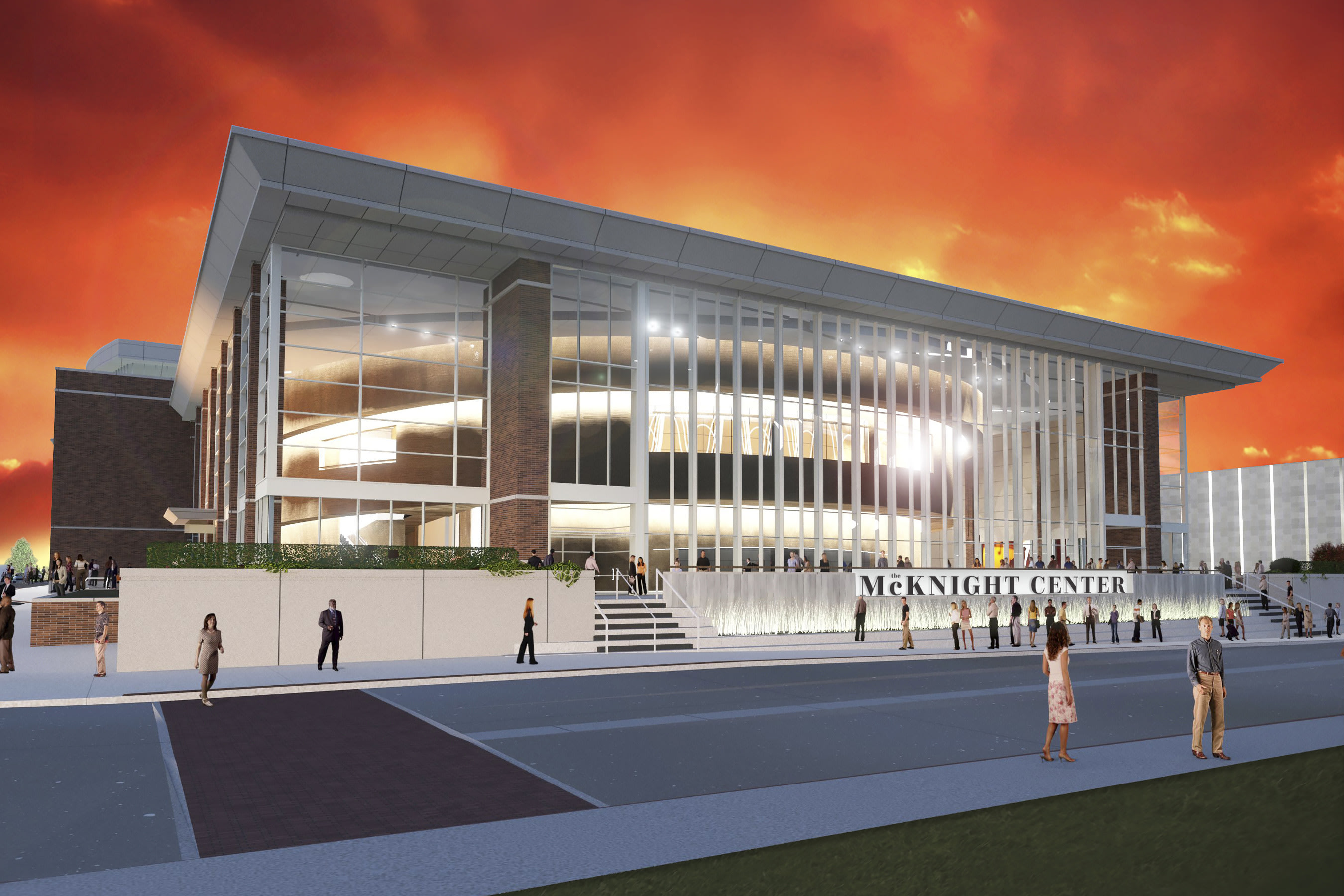 Architectural rendering of the front façade of The McKnight Center for the Performing Arts at Oklahoma State University