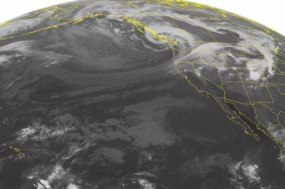 This NOAA satellite image taken Monday, Sept. 30, 2013, at 02:00 AM EDT shows an expansive area of cloudiness over the Pacific Northwest associated with a large area of low pressure over coastal British Columbia. Heavy rain and scattered thunderstorms will continue across the region as the system pushes inland. High pressure over the southwestern United States brings mostly sunny skies. (AP Photo/Weather Underground)