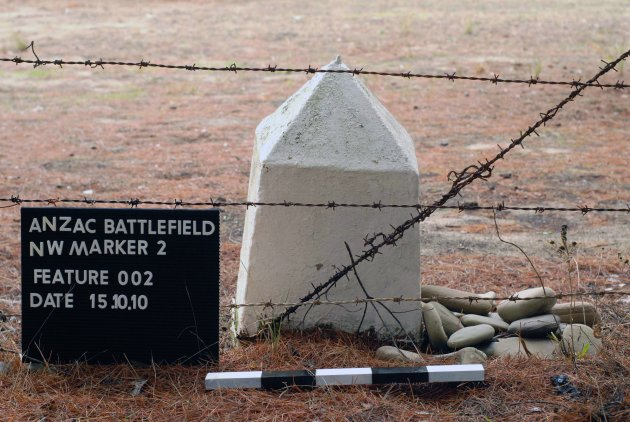 FILE  This 2010 file photo shows a boundary marker which defines the area of the ANZAC Battlefield according to the Treaty of Lausanne, in Gallipoli, western Turkey. The World War I battlefield of the