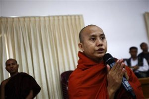 Buddhist monk Wirathu speaks to his fellow monks during …