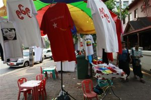 969 shirts are seen among the National League for Democracy…
