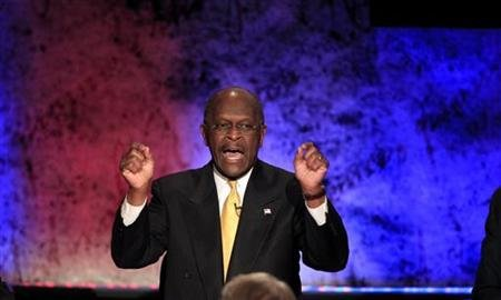 Republican presidential candidate and businessman Herman Cain makes a point while participating in a Republican presidential debate with the other hopefuls at Dartmouth College in Hanover