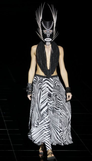 A model displays a creations by Russian designer Konstantin Gayday during the Volvo Fashion Week in Moscow, Russia, Monday, Oct. 31, 2011. (AP Photo/Misha Japaridze)