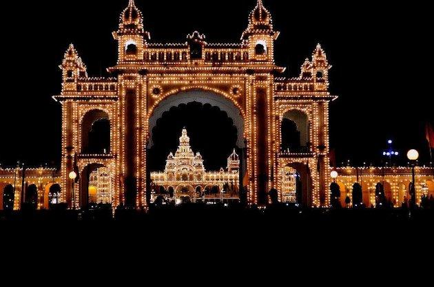 Mysore Palace illuminated for Dussehra