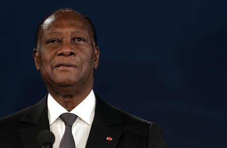 Ivory Coast's President Alassane Ouattara delivers a speech during the opening session of the World Policy Conference in Cannes December 8, 2012. REUTERS/Eric Gaillard