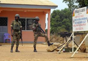 Cameroonian soldiers stand guard at the frontier post…