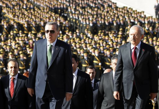 Turkey's Prime Minister Erdogan and leader of the main opposition Republican People's Party Kilicdaroglu attend an official ceremony to mark the 89th anniversary of Republic Day at Anitkabir in Ankara