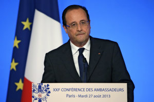 French President Francois Hollande delivers his speech …