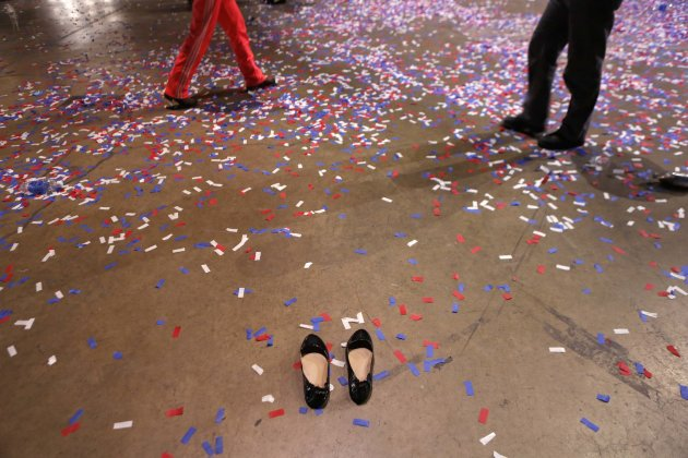 A pair of shoes are left behind after the victory party for U.S. President Barack Obama at McCormick Place in Chicago