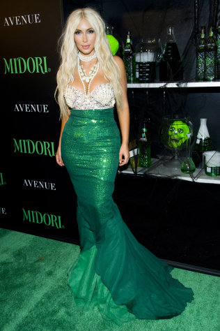 Kim Kardashian hosts the 2nd Annual Midori Green Halloween Party on Saturday, Oct. 27, 2012 in New York. (Photo by Charles Sykes/Invision/AP)