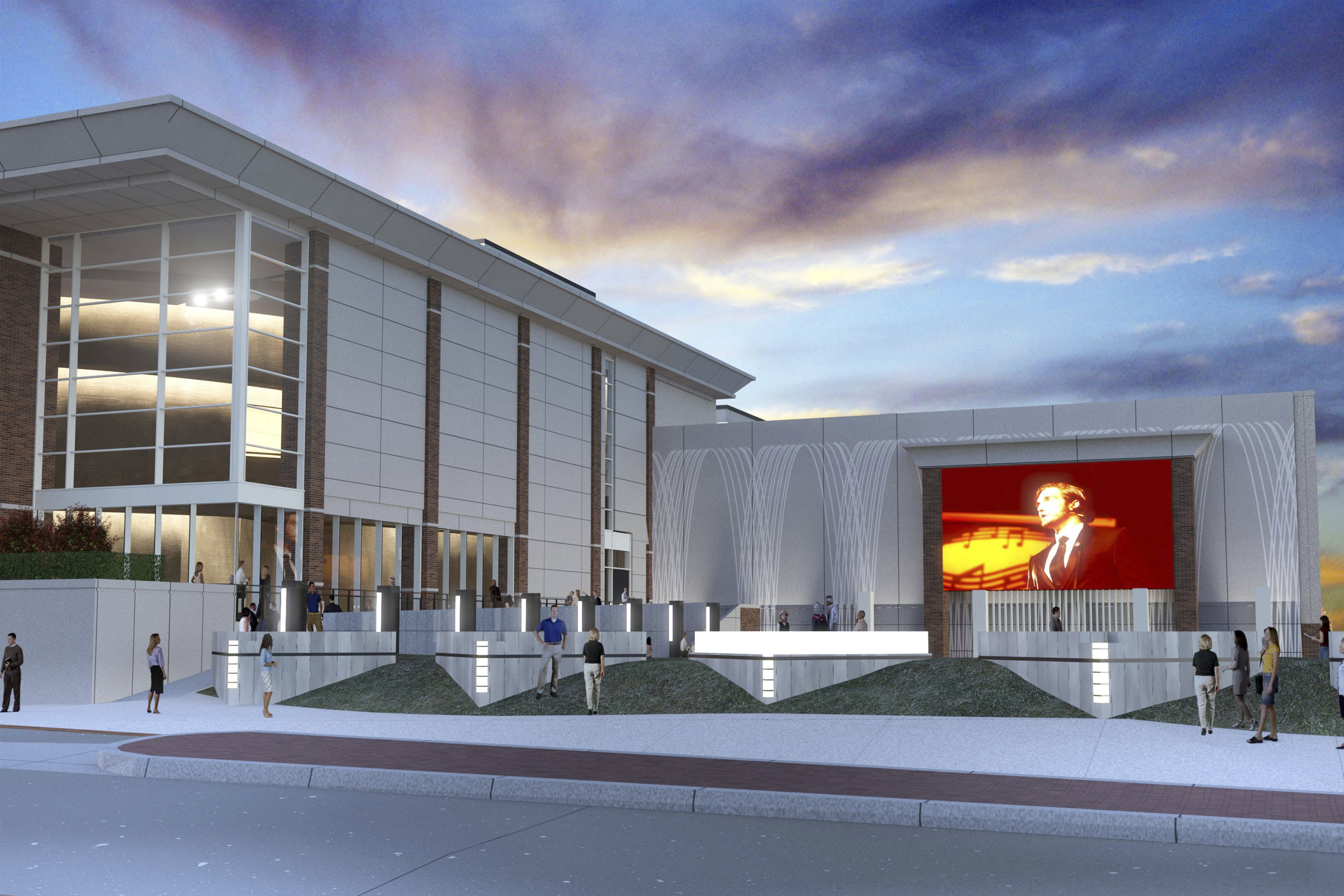 Rendering of the Outdoor Plaza, which will simulcast live performances within The McKnight Center and from stages around the globe