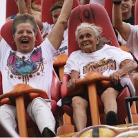 90 Year-Old Celebrates Birthday On Roller Coaster