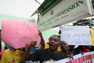 Kenyan gay and lesbian organisations demonstrate outside…