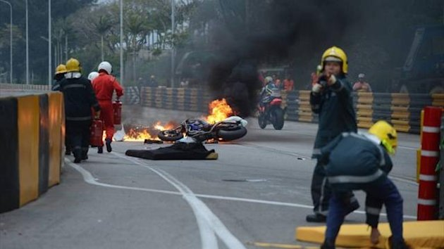 Scene of the accident in Macau which claimed the life of Luis Carreira (Imago)