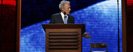 Actor Clint Eastwood addresses an empty chair and questions it as if it were President Barack Obama as he endorses Republican presidential nominee Mitt Romney during the final session of the Republican National Convention in Tampa, Florida, August 30, 2012. (REUTERS/Adrees Latif)