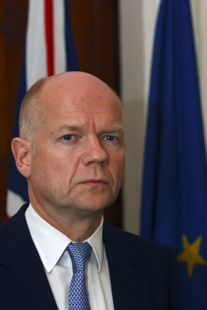 William Hague takes part in a joint news conference with Tonio Borg at the Foreign Ministry in Valletta