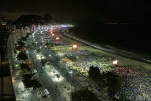 A bird's-eye view of the Copacabana beachfront in Rio …